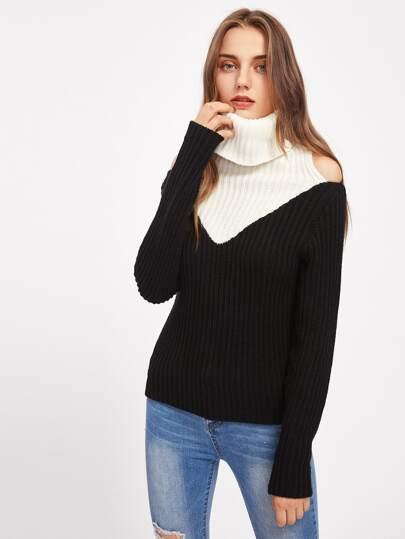 Jersey con cuello en contraste de hombro descubierto