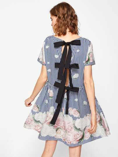 Bow Tied Back Floral & Striped Dress