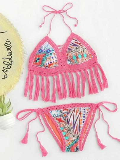 Set di bikini con stampa grafica