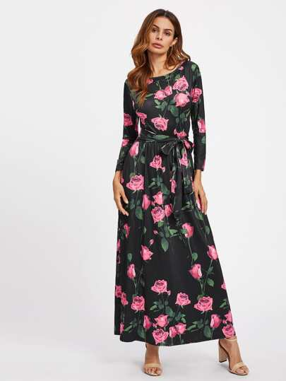 All Over Rose Print Self Tie Dress