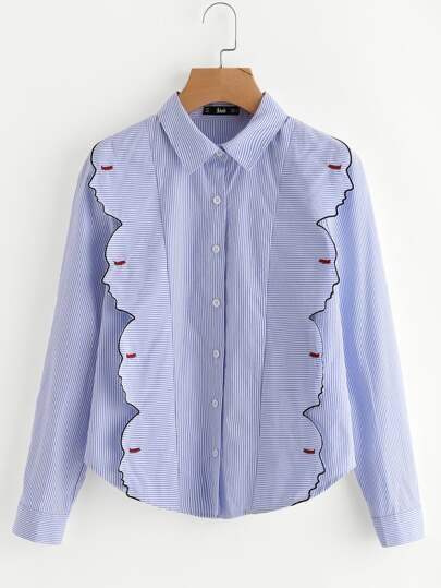 Embroidered Side Face Outline Detail Shirt