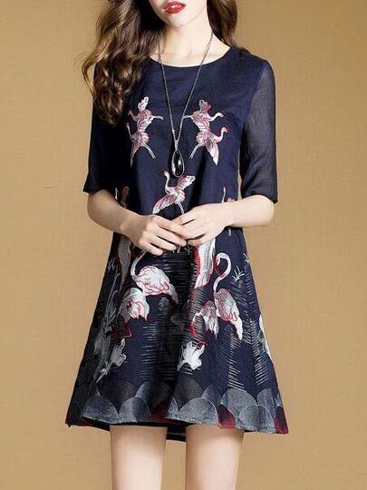 Flamingo Embroidered A-Line Dress