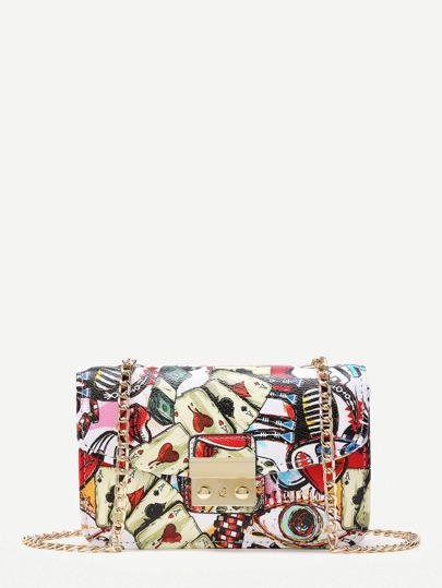 Graffiti Print Overlay Pushlock Flap Bag