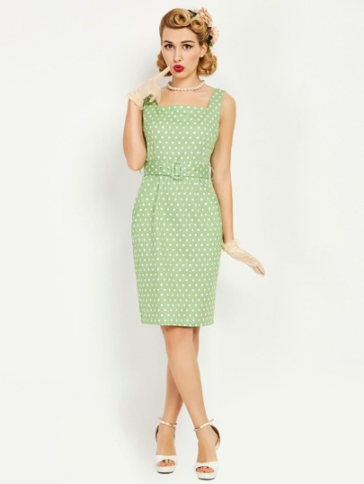 Polka Dot Tank Dress With Belt