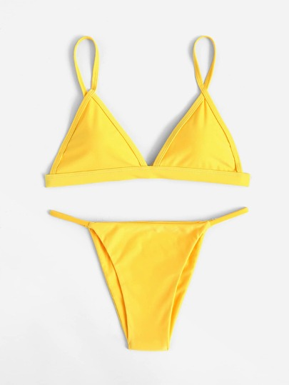 Conjunto de bikini triangular con correa ajustable