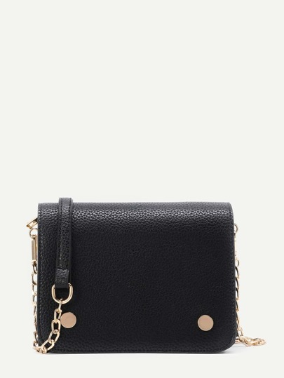 Metal Detail Flap PU Crossbody Bag