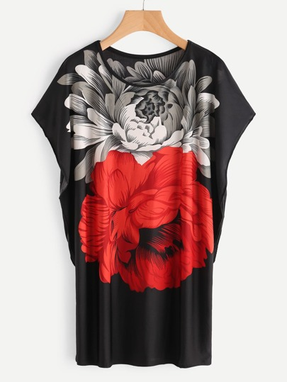 Dolman Sleeve Flower Print Tee Dress