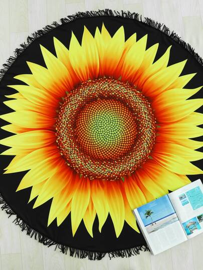 Sunflower Print Fringe Trim Round Beach Blanket