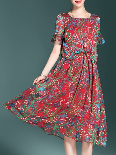 Bell Sleeve Floral A-Line Dress