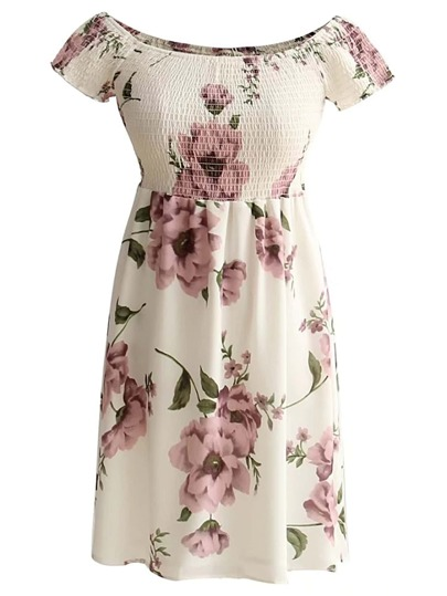 Boat Neckline Floral Print Shirred Dress
