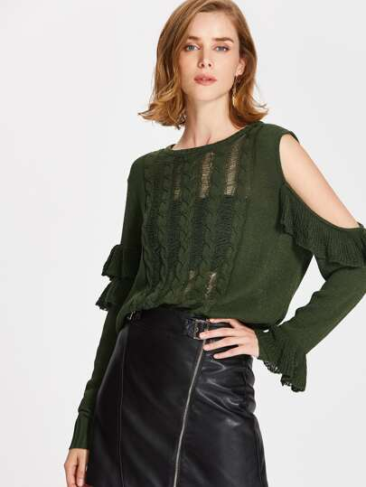 Frilled Open Shoulder Ripped Jumper