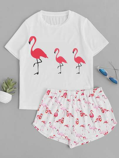 Top mit Flamingomuster und Shorts Pajama Set