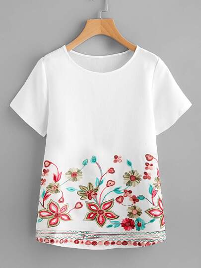 Flower Embroidery Short Sleeve Top
