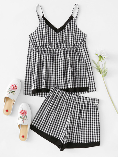 Conjunto de pijama de guinga en contraste