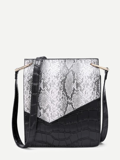 Two Tone Crocodile Print PU Shoulder Bag