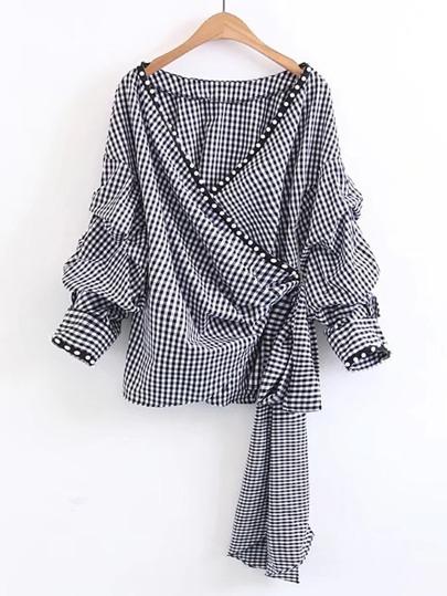 Blusa embellecida de perlas de cuadros con cordones