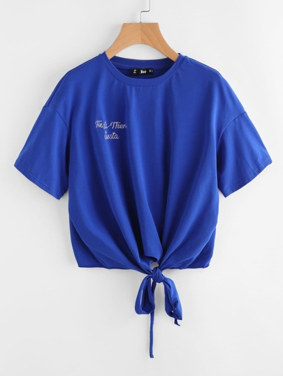 Tie Front Embroidered T-shirt