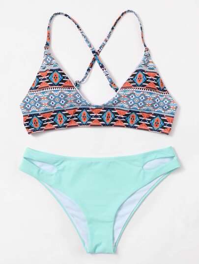 Tribal Print Criss Cross Cut Out Bikini Set