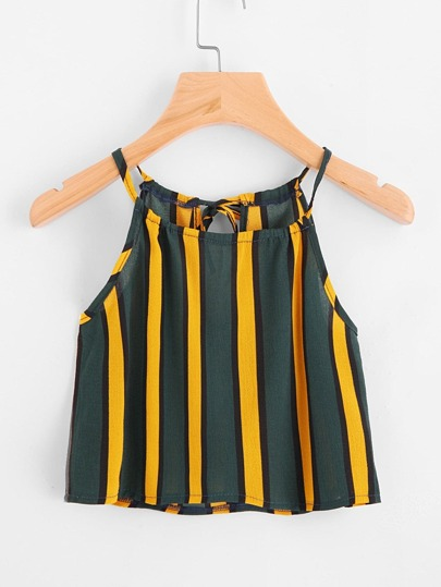 Vertical Striped Self Tie Back Cami Top