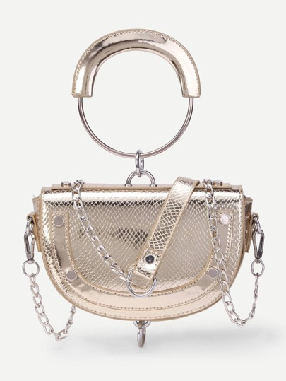 Ring Detail Snake Print Cross Body Bag