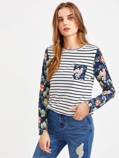 Contrast Floral Sleeve And Pocket Front Stripe Top