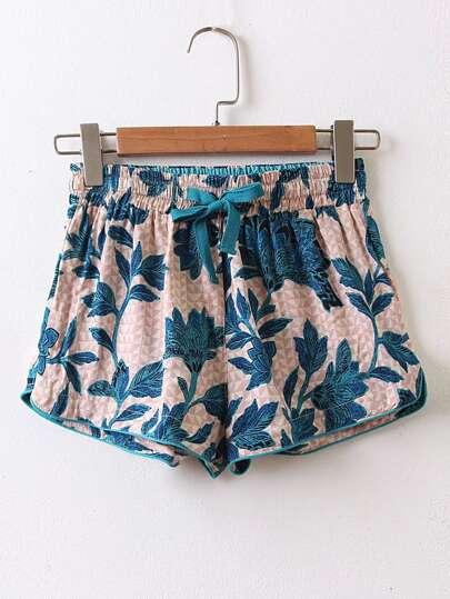 Shorts mit Blumen und Kordelzug