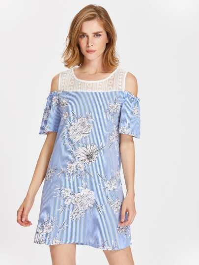Contrast Lace Open Shoulder Vertical Striped Florals Dress