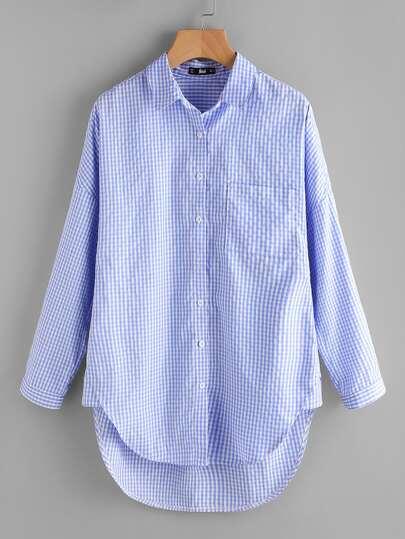 Dolphin Hem Fold Pleat Back Gingham Shirt