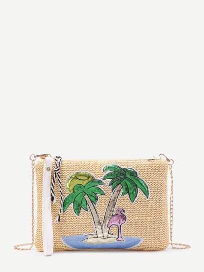 Sequin Palm Tree Detail Straw Chain Bag