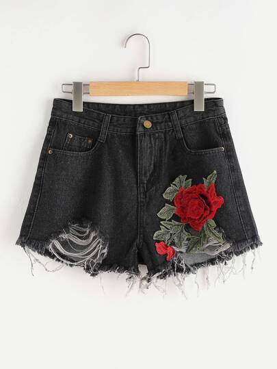 Flower Applique Distressed Denim Shorts