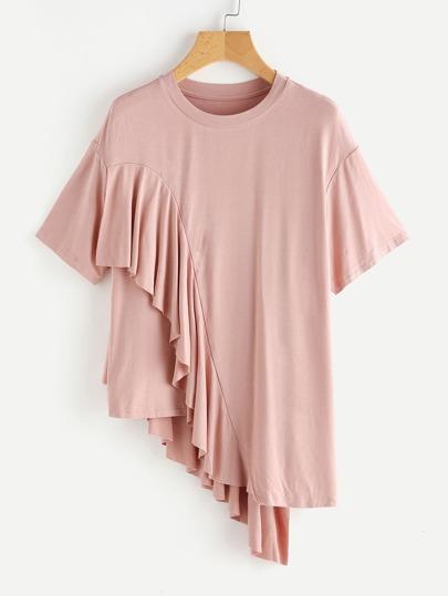 ASymmetrisches T-Shirt mit sehr tief angesetzter Schulterpartie und Falten