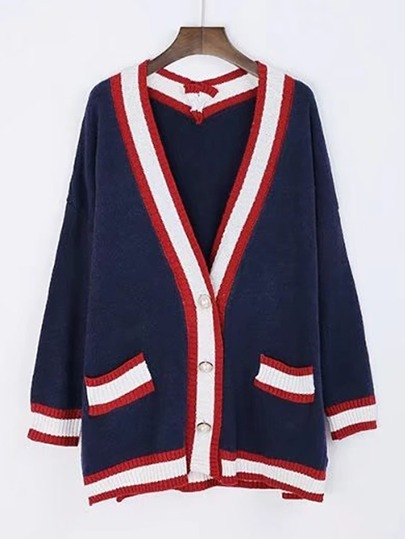 Drop Shoulder Contrast Binding Sweater Coat