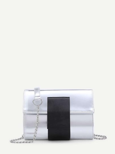 Two Tone Foldover PU Chain Bag