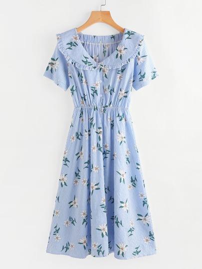 Floral Print Random Pinstripe Long Shirt Dress