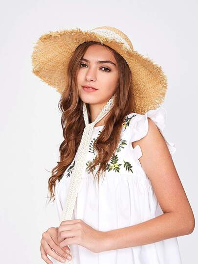 Raw Edge Floppy Straw Hat With Lace Strap