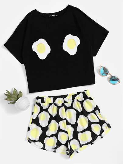 Fried Egg Print Top With Shorts Pajama Set