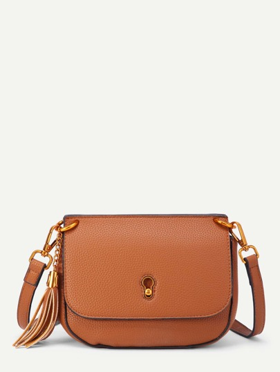 Tassel Detail Flap PU Shoulder Bag