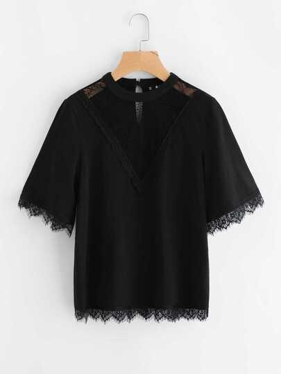 Lace Detail Illusion Neck Tee