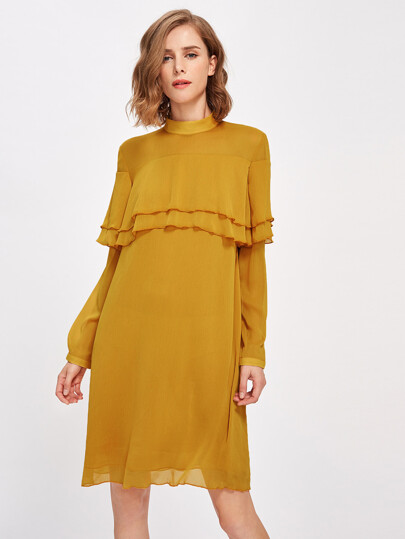 Mock Neck Layered Flounce Trim Dress