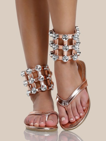Chunky Diamond Ankle Band Thong Sandals ROSE GOLD
