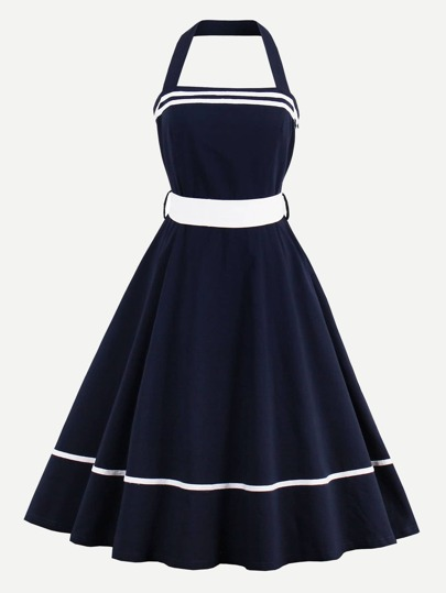 Halter Strap Tape Detail Circle Dress With Contrast Belt