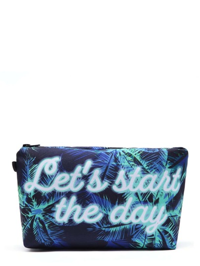 Palm Tree & Slogan Print Makeup Bag