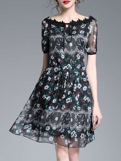 Tie Neck Floral Drawstring Dress