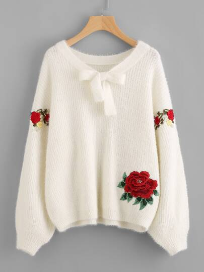 3D Flower Patch Embroidered Sleeve Fluffy Jumper