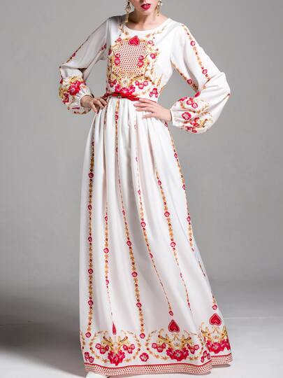 Vintage Print Puff Sleeve Maxi Dress