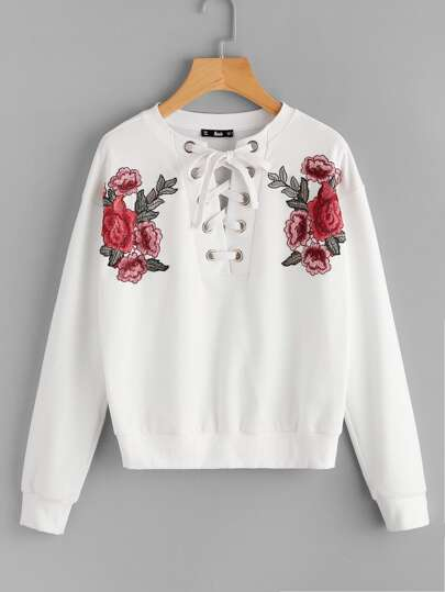 Embroidered Flower Patch Grommet Lace Up Sweatshirt