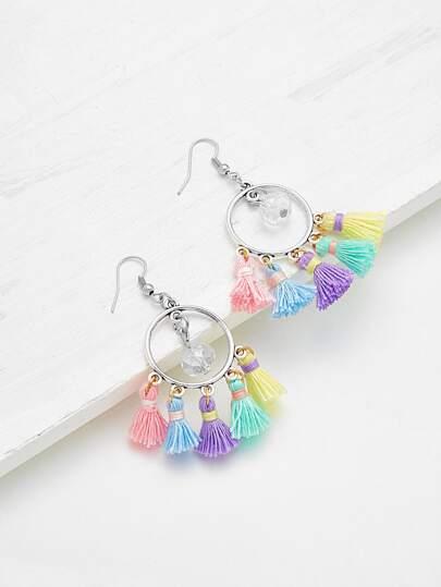 Mini Crystal Tassel Drop Earrings