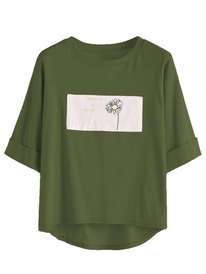 T-Shirt mit abfallenden Saum und Muster