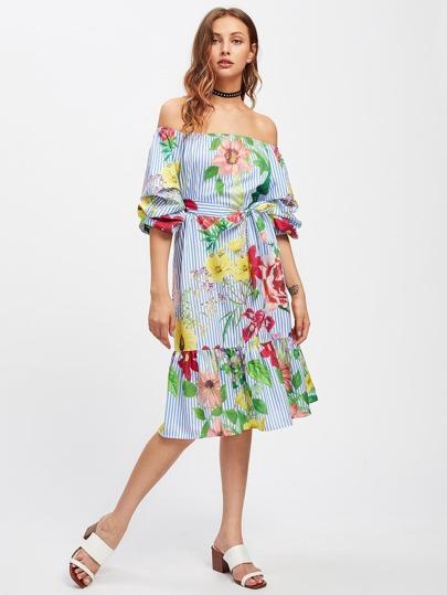 Bardot Self Tie Frill Hem Botanical Print Dress