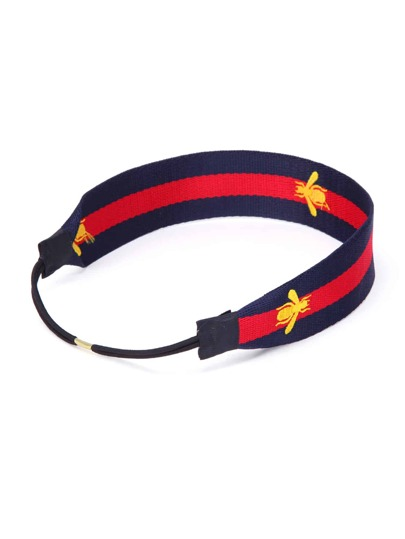 Bee Embroidery Block Striped Hair Band